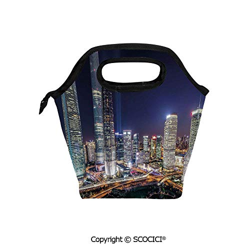 Reusable Insulated Lunch Bags with Pocket Skyline Illuminated Skyscrapers in Modern City at Night Architectural Cityscape Photo for Adults Kids Boys Girls. -