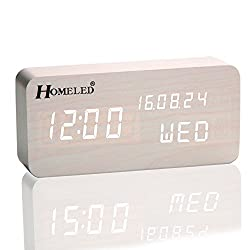 Homeled Wooden Cube Digital Desk Alarm Clock for Kids LED Travel Clock with Time/Week / Date/Temperature Displaying Sound Control Powered by 4 AAA Batteries or USB Cable (White)