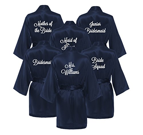Set of Bridesmaid Robes - NAVY (Set of 6 Robes) by Classy Bride (Image #1)