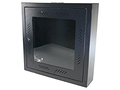 "CNAweb 12U 19"" Slim SoHo Wall Mount Rack Cabinet Enclosure 6"" Depth - Black"