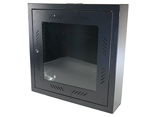 CNAweb 12U 19'' Slim SoHo Wall Mount Rack Cabinet Enclosure 6'' Depth - Black by CNAWEB