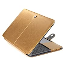 """Aesetek PU Leather Sleeve Case for Macbook Pro 13"""" with CD-ROM (A1278),Gold"""