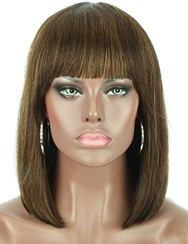 """Beauart 12"""" 100% Remy Human Hair Short Bob Wigs for Women Straight Hair Brown Highlights Bob Wigs with Hair Bangs,Trendy and Natural Looking Everyday Wear Wigs ()"""