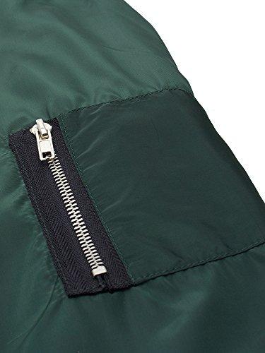 Verde Lunghe Boyfriend Eleganti Casual Zanzea Giacca Donne Cerniera Sport Militare Maniche Tasche wv1wB4
