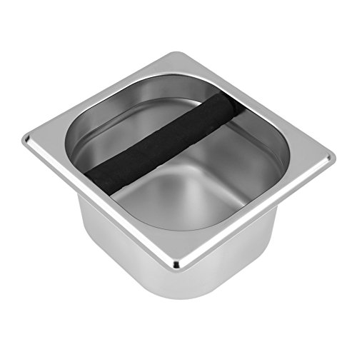 Espresso Knock Box-Stainless Steel Espresso Knock Box Container with Rubber Bar for Coffee Machine (Size : S)