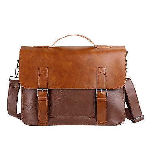 Briefcase PU Leather Crazy Horse Shoulder Bag Mens Casual Messenger Retro