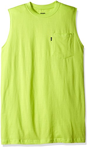 Key Apparel Men's Sleeveless Tee, Neon Green, X-Large
