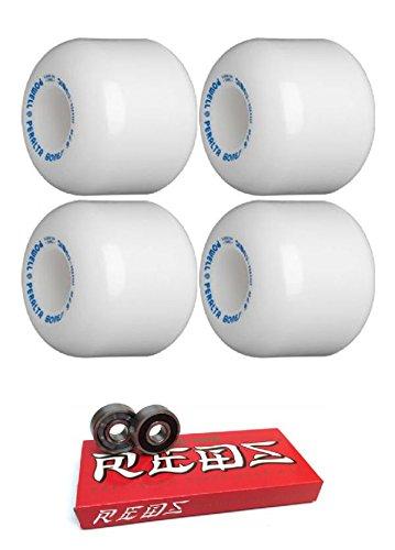 8mm Bones Reds Precision Skateboard Bearings 95a with Bones Bearings Powell-Peralta 64mm Mini-Cubic Black Skateboard Wheels Bundle of 2 Items