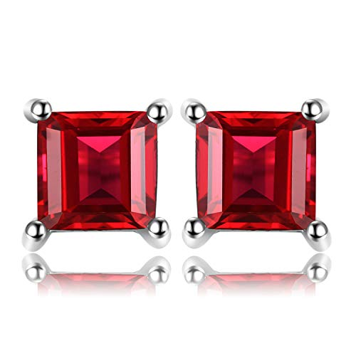 Jewelrypalace Gemstones Stone Birthstone Natural Garnet Stud Earrings For Women 925 Sterling Silver Earrings For Girls
