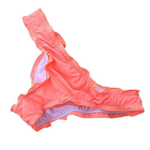 Victoria Malinsa Women's Ruffle Wavy Bikini Bottom Low Rise Hipster Allure Cheeky Swim Bottom (Pink, S)