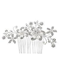 MagiDeal Women Bridal Wedding Flower Crystal Rhinestones Pearls Hair Clip Comb
