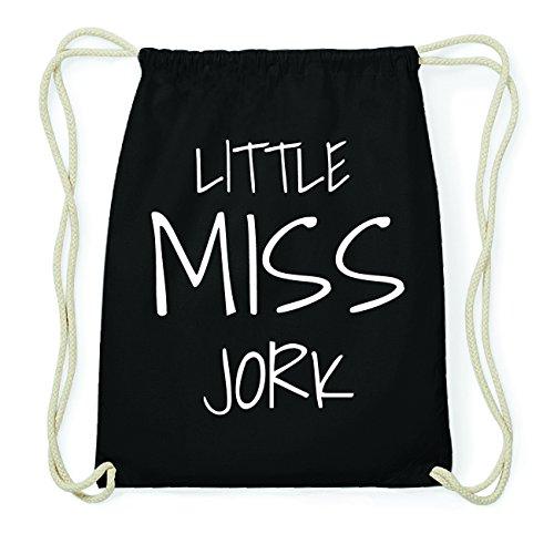 JOllify JORK Hipster Turnbeutel Tasche Rucksack aus Baumwolle - Farbe: schwarz Design: Little Miss 7Szob