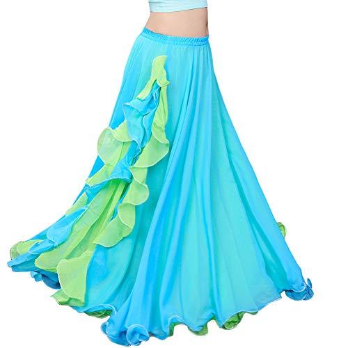 ROYAL SMEELA Women's Belly Dance Chiffon Skirt ATS Voile Maxi Full Tribal Bellydance Dress Light Blue One Size ()