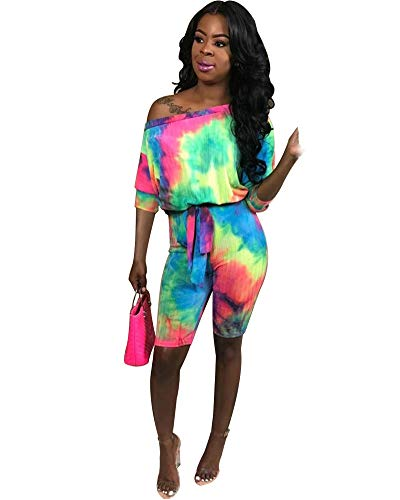 OLUOLIN Womens Sexy Off The Shoulder Tie Dye Printed Bodycon Mini Shorts Party Clubwear Jumpsuit