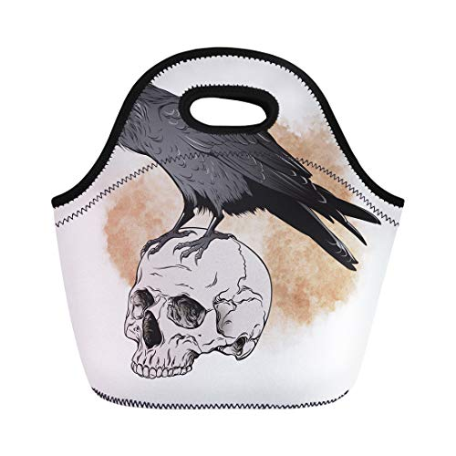 Semtomn Neoprene Lunch Tote Bag Brown Poe Raven and Skull on Sepia Watercolor Scary Reusable Cooler Bags Insulated Thermal Picnic Handbag for Travel,School,Outdoors, Work ()
