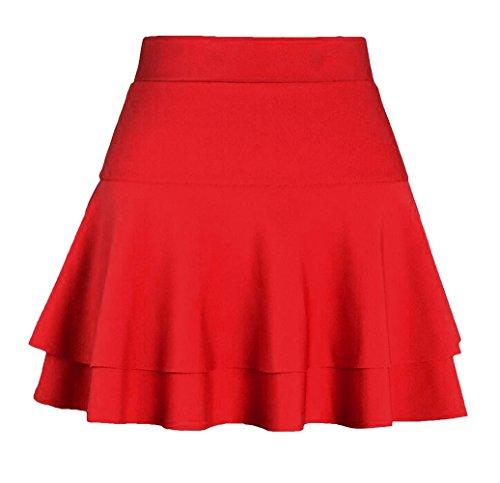 Afibi Casual Mini Stretch Waist Flared Plain Pleated Skater Skirt (X-Small, Red 2)