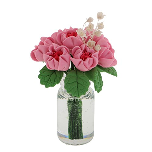 Prettyia 1/12th Miniature Bunch Flower In Glass Vase Dolls House Room Decoration ()