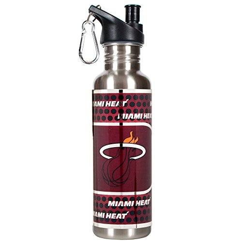 Great American Products NBA Miami Heat Steel Water Bottle with Metallic Graphics, 26 oz, Silver by Great American Products