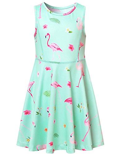 Flamingo Dresses Girls Sun Summer Kids Clothes Cute Tank Skater Blue Pink Teens -
