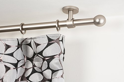Curtain rod: Ø 0.8 inch, lenght 62.4 inch, satin steel finish – complete