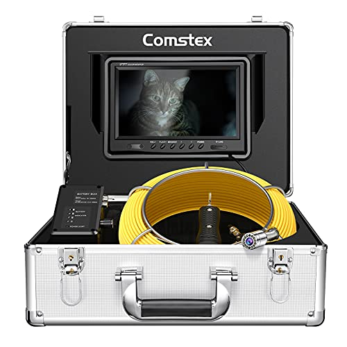 Sewer Camera 100ft/30m, Comstex Sewer Inspection Camera 9 inch LCD Monitor with DVR, Video Pipe Inspection Equipment…
