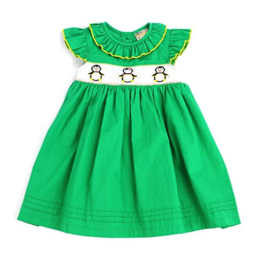 sissymini - Christmas Hand Smocked Angel Sleigh Dress (Green Penguin, 2T)