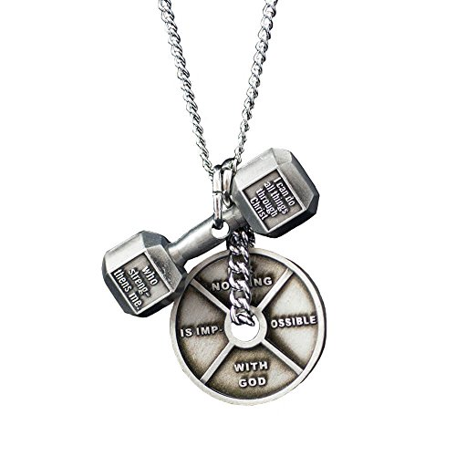 Women's Antique Finish Combo Necklace-Phil 4:13 Dumbbell/Luke 1:37 Weight Plate ()