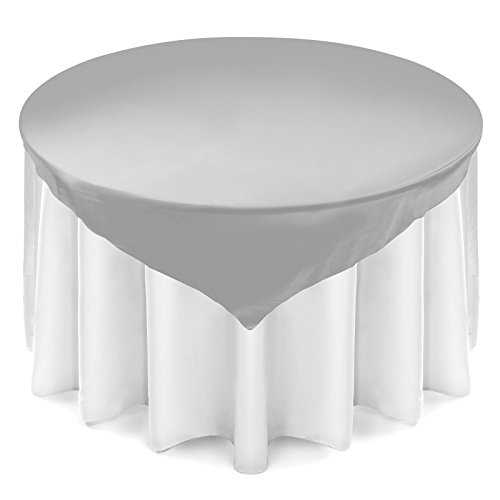 Silver Overlay - Lann's Linens - Satin Overlay Table Topper - 72