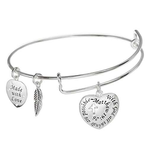 Sterling Silver Christian Cross With God All Things Are Possible Heart Leaf Charm Ajustable Wire Bangle ()