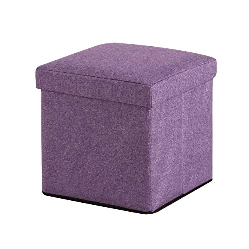 (CoCo Living Foldable Storage Bins Box Ottoman Container Organizer with Cushion Seat Lid, Cube, Purple)