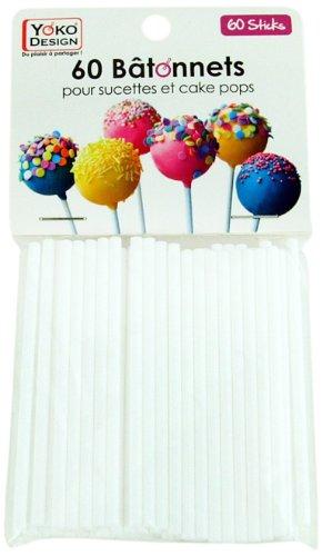 YOKO DESIGN 1201 - Set de 60 palitos de PVC para repostería (7,5 cm de largo), color blanco