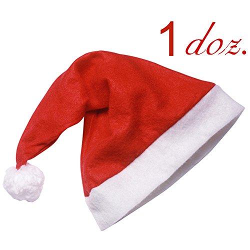 1 Dozen Santa Hat Christmas Holiday Theme Costume Christmas Headwear One size Fits Most Set of 12 pcs ()