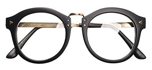 4a3c3ff95de Galleon - Oversized Big Round Horn Rimmed Eye Glasses Clear Lens Oval Frame  Non Prescription (MATT BLACK H75552)