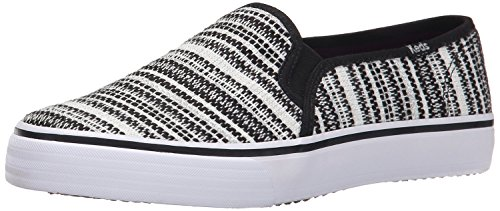 Keds Women's Double Decker Woven Stripe Fashion Sneaker, Black, 8.5 M US