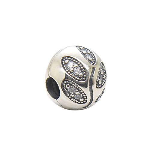 Star Clips Charm Original 100% Authentic 925 Sterling Silver Lock Stopper Beads Charm fit for Pandora Charms Bracelets (Leaf Clips) ()