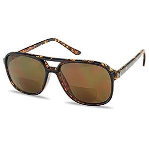SunglassUP 1980's Large Plastic Aviator Bi-Focal Sun Readers Sunglasses Prescription Strength +1.25 through +3.00 Power (Tortoise, 1.50)
