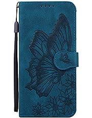 جراب محفظة Mylne لهاتف Samsung Galaxy S20 Plus، جراب قلاب من جلد البولي يوريثان مع فتحات للبطاقات وحامل يتميز بتصميم فراشة ريترو غطاء واقٍ باللون الأزرق