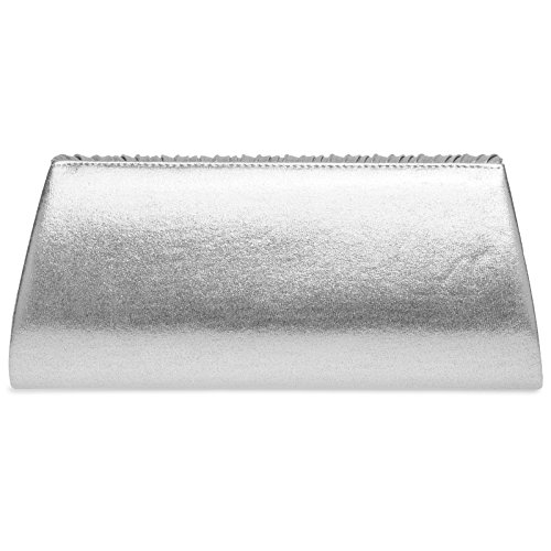 Glitter with Stylish Evening Ladies Elegant Silver Clutch Bag Design Pleated CASPAR TA398 BEUqcwU7