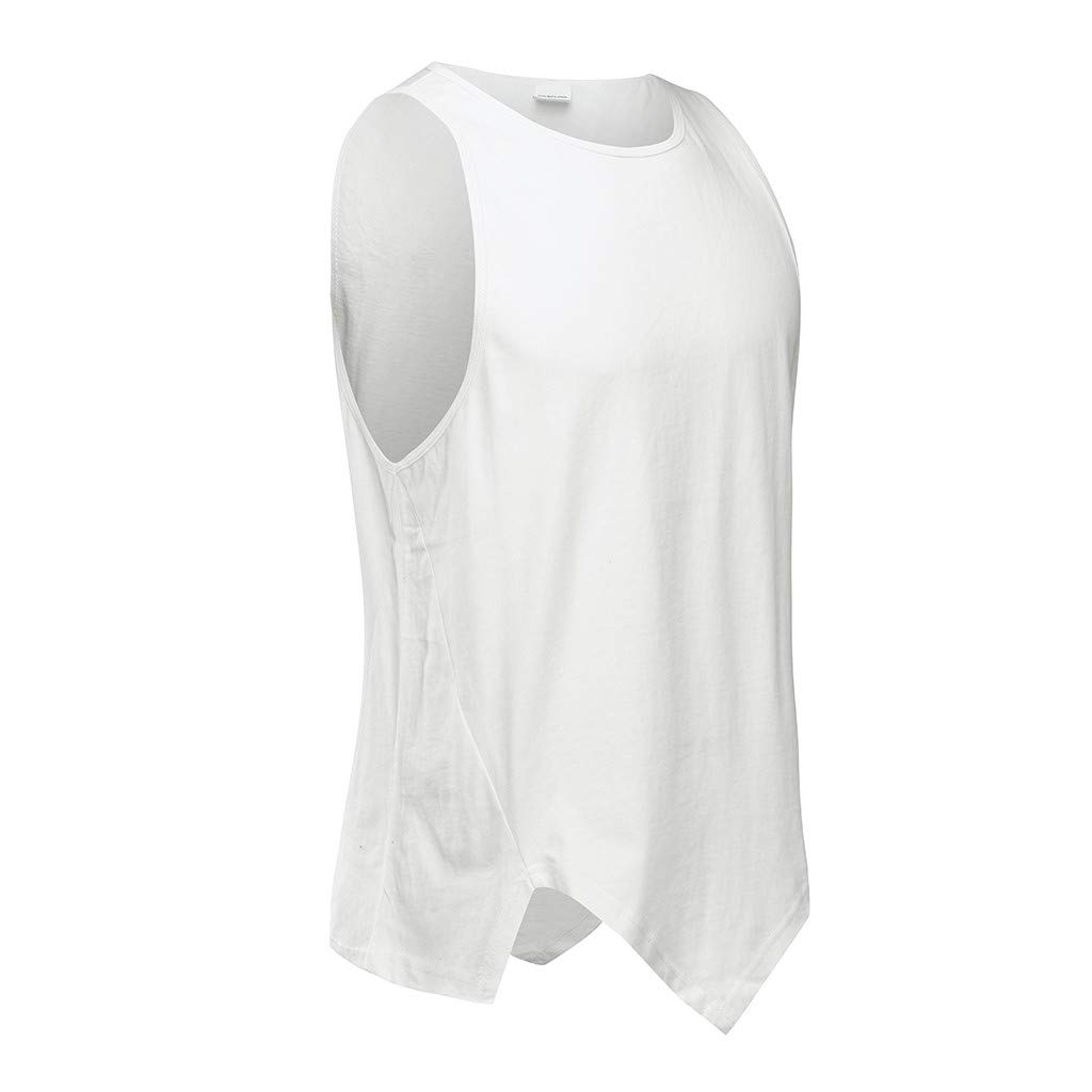 Allywit-Mens Irregularity Casual Sport Pure Color Sleeveless Shirt Tee Blouse Vest Tank Bodybuilding Gym