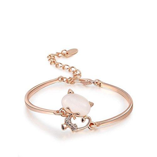 O4U Lovely Cat Opal Stone Three Times of Rose Gold Plating Bangle Bracelet(Rose Gold)