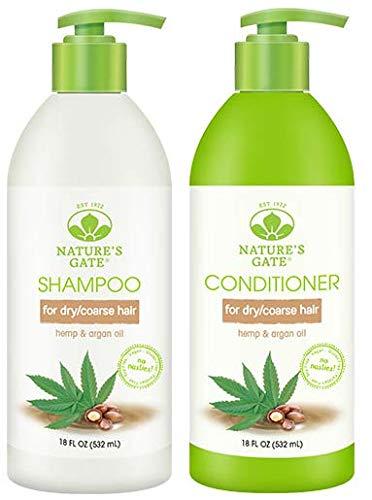 Nature's Gate Nourishing Shampoo and Nature's Gate Nourishing Conditioner Bundle With Hemp and Argan Oil, 18 fl oz (532 ml) each