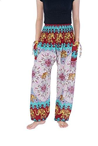 Lannaclothesdesign Women's Elephant Mandala Harem Pants S M