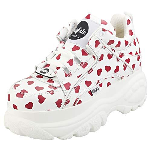 Buffalo London Women's Classic Kicks Sneakers, White/Red Hearts, 9 M US