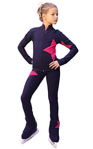 IceDress Figure Skating Outfit - Star (with Pants) (Gray-Blue with Raspberry) (CS) by IceDress