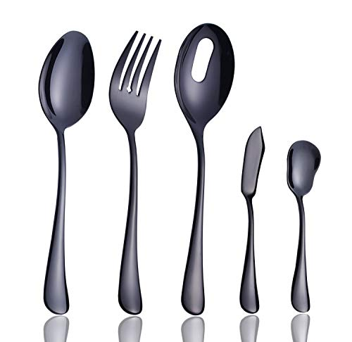 Onlycooker Serving Set 5-Piece Hostess Set, Black Serving Utensils 18/10 Stainless Steel Server Flatware Silverware with Large Serving Fork Slotted Spoon Butter Knife Sugar Spoon Dishwasher Safe