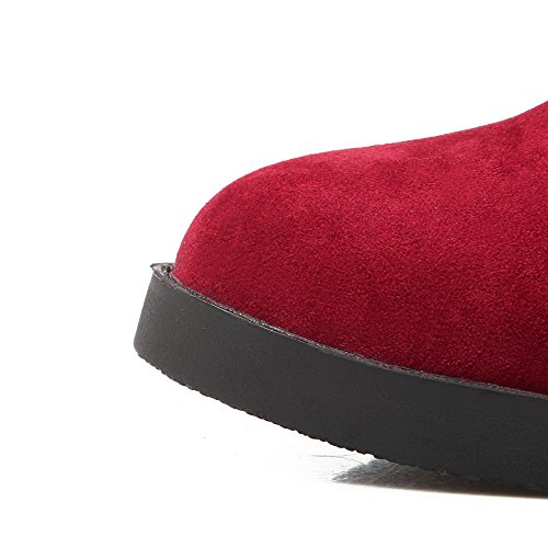 AgooLar Women's Closed Round Toe Low-Top Kitten-Heels Solid Imitated Suede Boots Red fPTxkZQFB