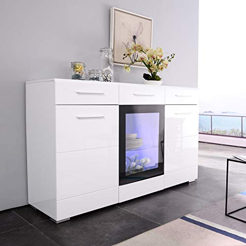 Mecor LED Sideboard Cabinet Buffet,Kitchen Sideboard and Storage Cabinet/TV Stand High Gloss LED Dining Room Server Console Table Storage with 3 Door/2 Drawers White