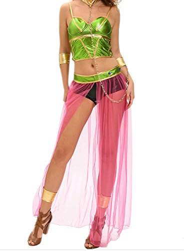 [YeeATZ Women's Green Pink 6pcs Slave Princess Costume (Size,S)] (1940s Dance Costumes)
