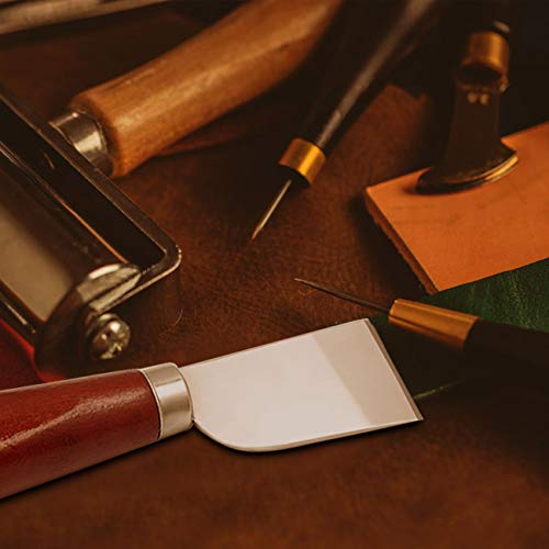Leather Skiving Knife, Leather Working Knife Tools with Wooden Handle and Steel Body for DIY Leathercraft Cutting