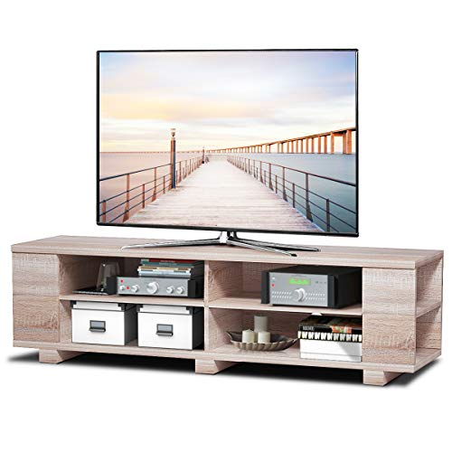 Tangkula TV Stand Modern Wood Storage Console Entertainment Center for TV up to 60″, Home Living Room Furniture with 8 Open Storage Shelves (White Oak)